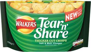 Walkers Tear 'n' Share Salt & Malt Vinegar Flavour Crisps (150g) / Lightly Salted Crisps (150g) / Cheddar Cheese & Onion Flavour Crisps (150g) / Sticky BBQ Ribs Flavour Crisps (150g) as £1.95 now £1.00 (Rollback Deal) @ Asda @ Tesco
