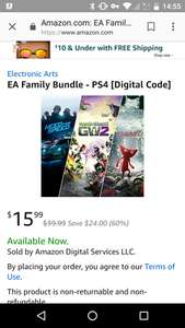 EA Family Bundle - Need for Speed - Unravel - Plants Vs Zombies Gard Warfare 2 £11.99 - Amazon US Digital PS4