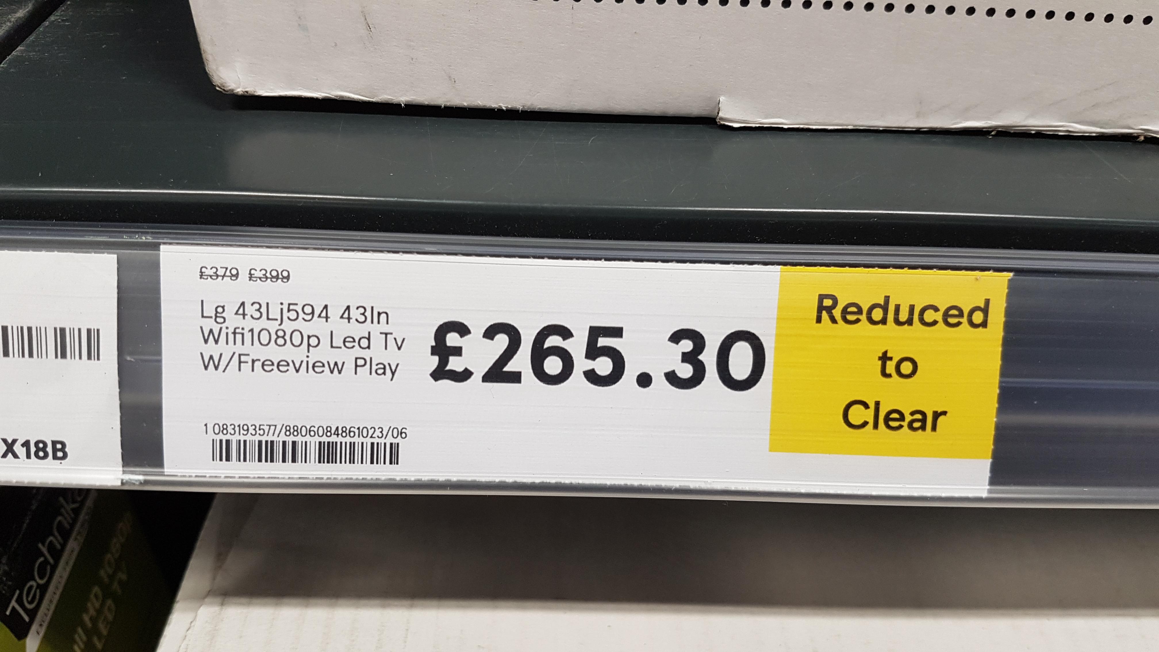 "LG 43LJ594 43"" TV - £265.30 in store @ Tesco Newtownbreda Belfast"