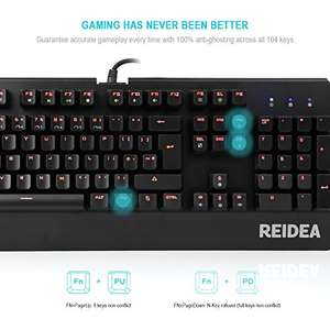 REIDEA RGB 105-key  Mechanical Red Switch Gaming Keyboard (UK) + free gaming mouse (worth £3.99)  £29.99 Sold by Cheerivo UK and Fulfilled by Amazon - Lightning deal