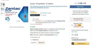 Zantac (ranitidine) heartburn & indigestion box 12 75mg tablets. Amazon add on or subscribe and save