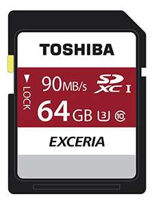 Toshiba Exceria N302 64GB SD Memory Card 90 MB/s 4K HD £13.28 (Prime) @ Amazon
