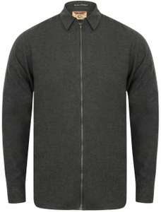 Millbrook Zip Through Long Sleeve Cotton Shirt in Dark Grey – Tokyo Laundry £6 (£7.79 del)