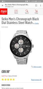 Seiko Stainless steel watch £89.99 @ Argos