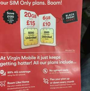 Virgin sim only instore deal from £10pm - 6GB data, 20gb for £15pm Better than the £20 a month deal