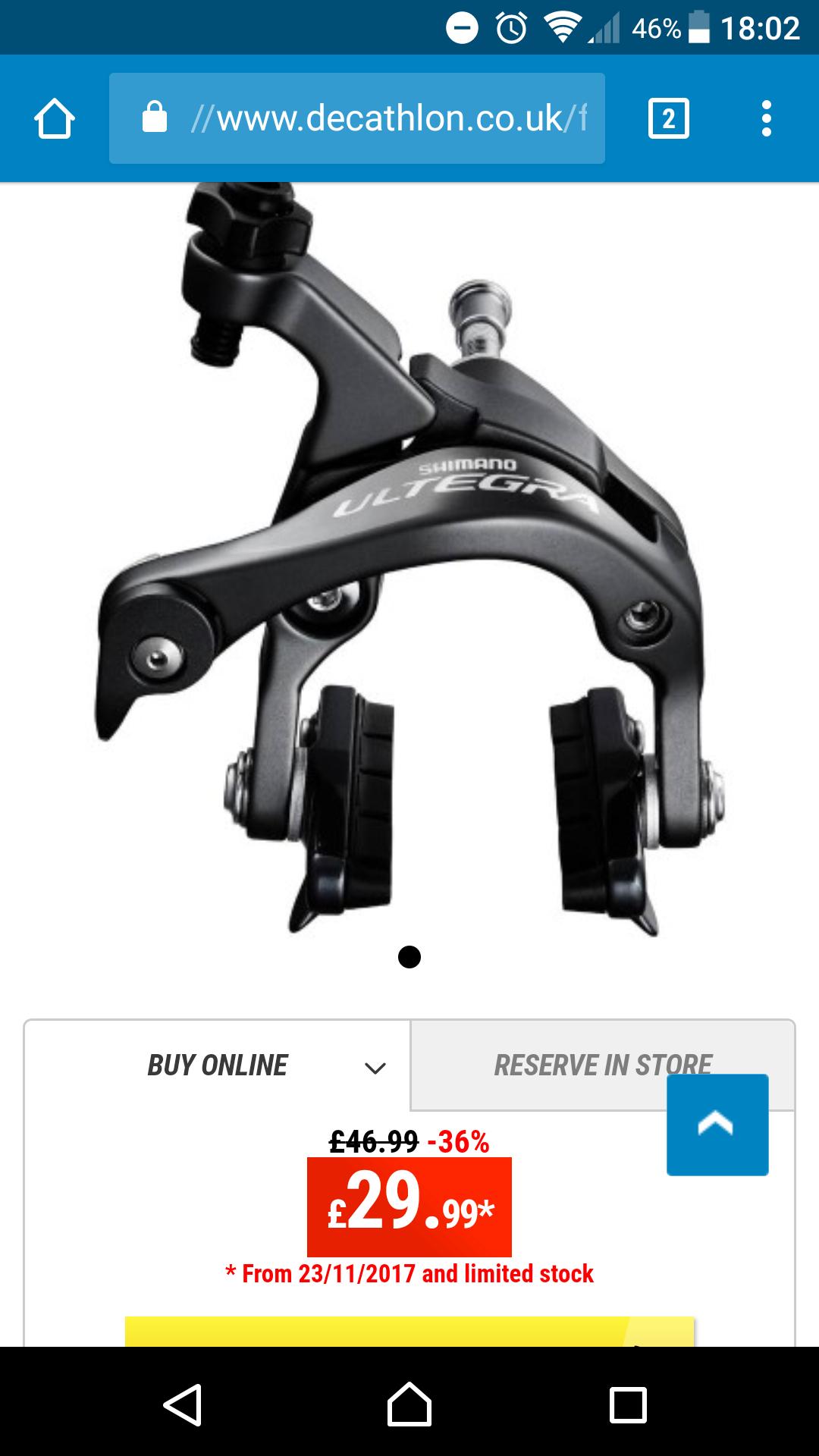 shimano ultegra brake caliper £29.99 @ Decathlon