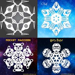 Free Snowflake Templates - Star Wars - Harry Potter - Guardians of the Galaxy and Frozen Courtesy of Anthony Herrera Designs