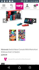 Nintendo Switch Neon Console With Mario Kart 8 Deluxe And 1-2 Switch £299 @ Very