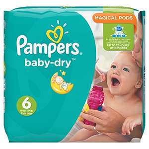 Pampers Baby-Dry 124 Nappies with 3 Absorbing Channels, 15+ kg, Size 6 £15.50 s&s - Amazon Prime Exclusive