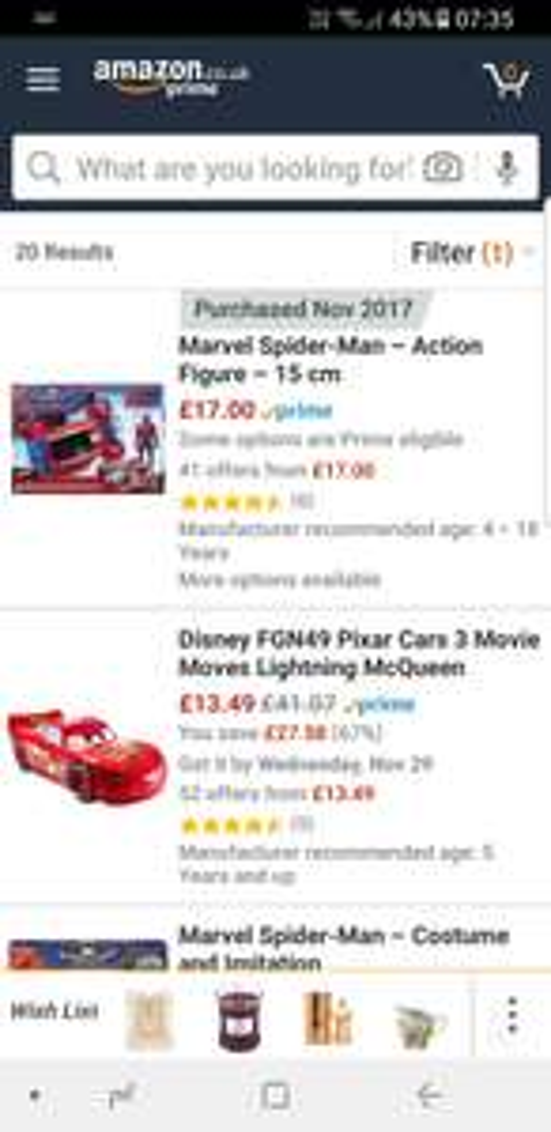 35% off movie toys inc Spiderman  car and figure £17 (+£4.75 non Prime) Amazon