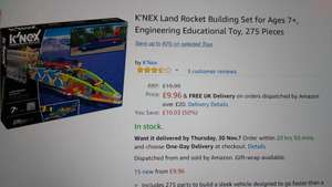 K'nex land rocket building set. Reduced to £9.96 (Prime) / £14.71 (non Prime) at Amazon