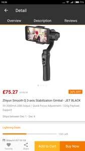 Zhiyun Smooth Q 3-axis Stabilization Gimbal £75.27  - Gearbest