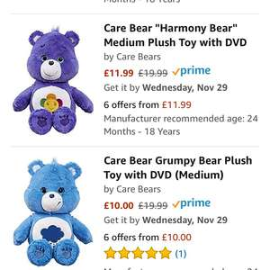 Medium Care Bears with dvd £10-£11.99 (Prime or add £3.99 Delivery for non prime) @ Amazon