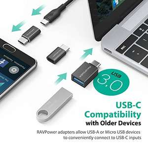 RAVPower (3-Pack) USB C to Micro USB Adapters - £2.99 (Prime) £5.98 (Non Prime) @ Sold by Sunvalleytek-UK and Fulfilled by Amazon