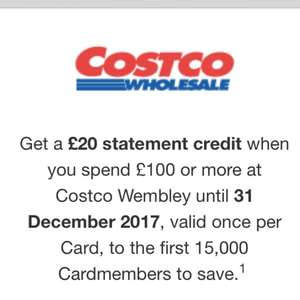Amex offer spend £100 at Costco Wembley and get £20 cashback