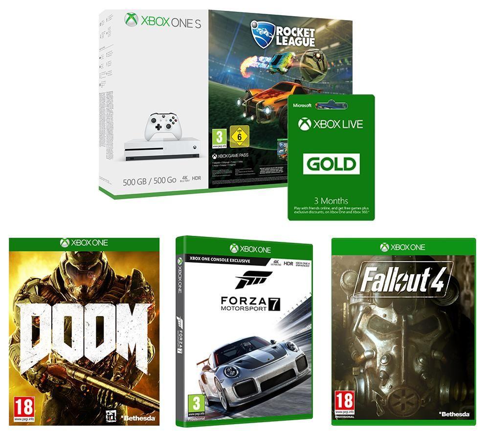 MICROSOFT Xbox One S, Rocket League, Forza 7, Fallout 4, Doom  & 2 x3 months Xbox LIVE Gold Bundle £179 Currys