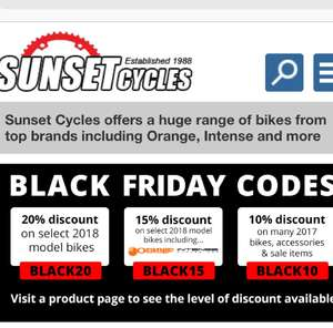 15% off Sunset mtb using voucher code
