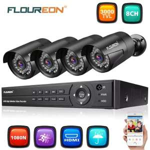 FLOUREON 1 X 8CH 1080P 1080N ONVIF AHD DVR + 4 X Outdoor 3000TVL 1080P 2.0MP Camera Security Kit UK