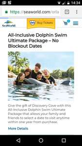 Discovery cove ultimate ticket (includes SeaWorld Busch gardens and aquatica) plus free parking - £202.37 incl. taxes