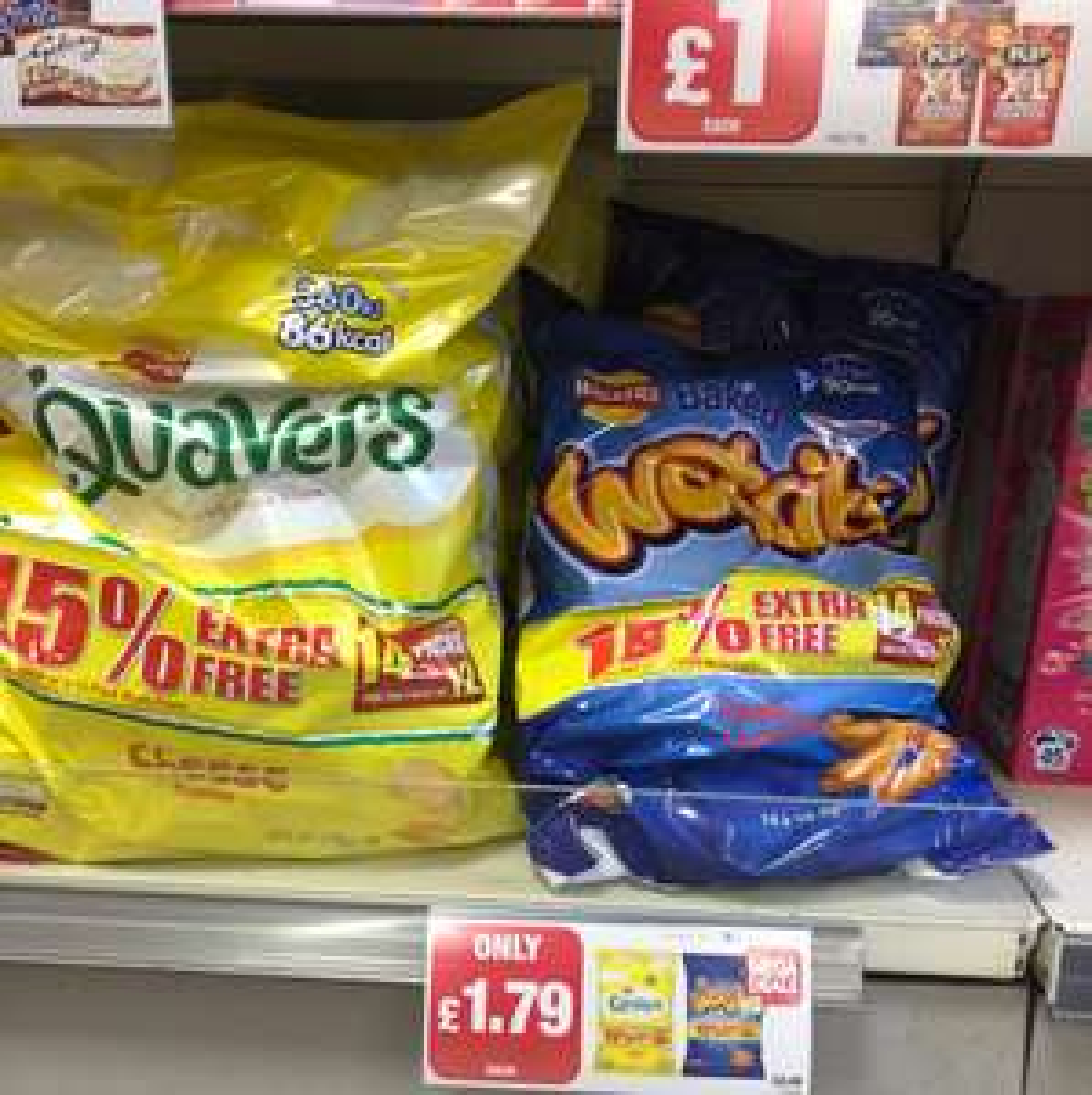 14 packs of Quavers/Wotsits about 12p bag - Premier for £1.79
