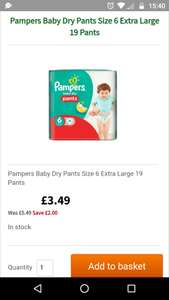 Pampers pants size 4, 5 and 6 £3.49