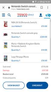 Nintendo switch grey Mario and rabbids, Lego ninjago, nba 2k18 at Tesco for £329