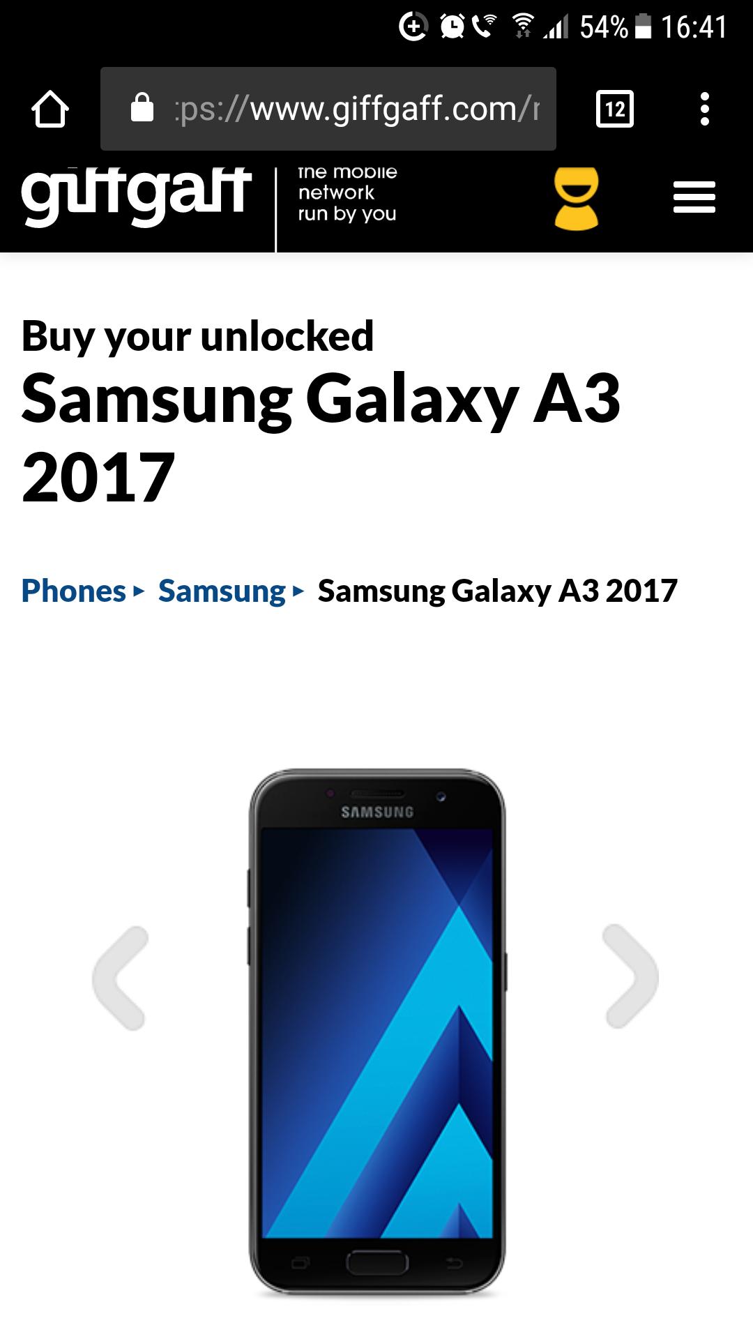 Samsung Galaxy A3 2017 from GiffGaff for £209