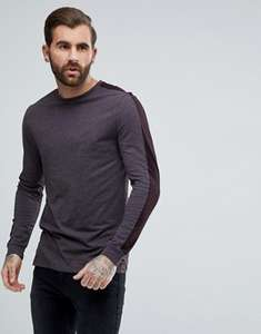 ASOS Relaxed Contrast Long Sleeve T-Shirt In Purple 65% OFF £7.40 delivered @Asos.com