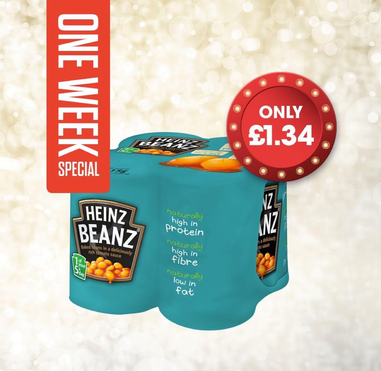 Heinz baked beanz 4 x 415g only £1.34 @ centra Northern Ireland