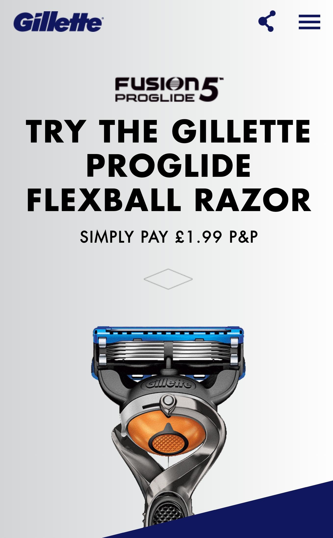 Try the flexball razor for free. AGAIN! Via Gillette