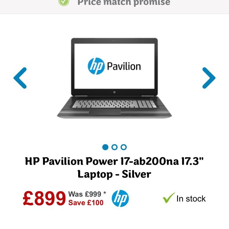 "HP Pavilion Power 17-ab200na 17.3"" Laptop - Silver - £899 @ AO.com"