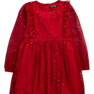 Mini V by Very star print red mesh party dress half price £8 free click and collect