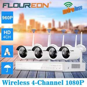FLOUREON 4CH Wireless CCTV 1080P DVR Kit Outdoor Wifi WLAN £47.44 @ Gearbest EU Warehouse