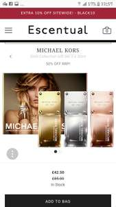 Michael kors gold collection gift set 3 x 30ml bottles down from £85 to £42.50 use code for extra 10% off making it £38.25 with free delivery  at escentual
