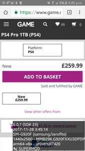 PS4 Pro 1TB (PS4)consoles from £259.99 see op @ game