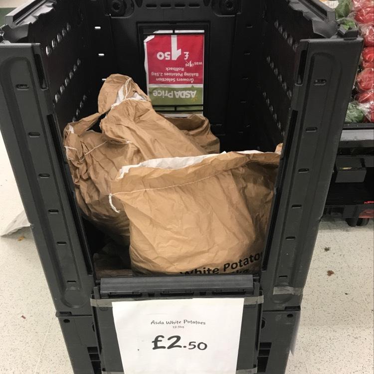 12.5 kg white potatoes £2.50 at Asda instore