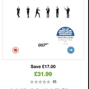 James Bond entire 24 film DVD collection £31.99 delivered at zavvi + quidco and digital copies (blu-ray £45.99)