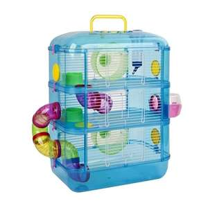 Blue or Pink Gerbil / Hamster Cage, 3 Story With Tubes now £20.99 Delivered w/code + £1.05 in points back @ shop4world (£32-£40 elsewhere)