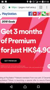 3 months of Spotify premium for 47p  from PlayStation Asia