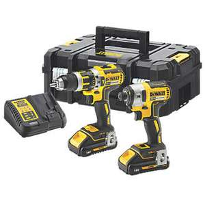 DeWalt DCK2510L2T-GB 18V 3AH LI-ION XR Brushless Cordless Combi Drill and Impact Driver Set - £249.99 @ Screwfix