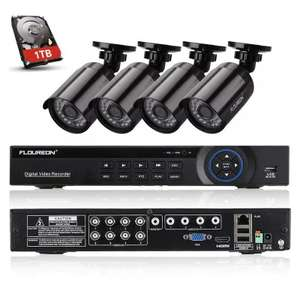 FLOUREON 1 X 8CH AHD 1080N DVR + 4 X 960P 1.3MP 2000TVL Camera + 1T Hard Disk Security Kit UK £54.68 Delivered (UK Warehouse) @ Gearbest