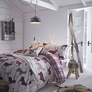 Catherine Lansfield Grampian Stag Brushed Cotton Double Duvet Set - Mulberry @ Amazon