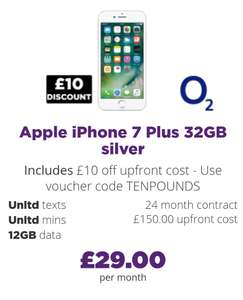 Apple iPhone 7 plus - £29p/m 12gb / unltd mins / unltd texts / £160 upfront / 2 years = £856 total @ Mobiles.co.uk