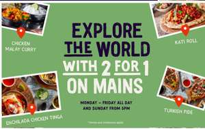 2 for 1 on mains All Day Monday – Friday & After 5pm Sunday @ Giraffe restaurants