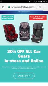 20% off all car seats at Smyths Toys