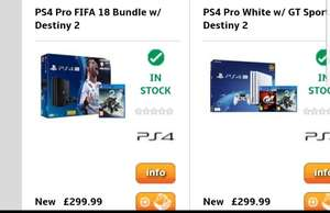 PS4 Pro White w/ GT Sport + Destiny 2 £299.99 @ Grainger Games or Black PS4 Pro FIFA 18 Bundle / Destiny 2 £299.99