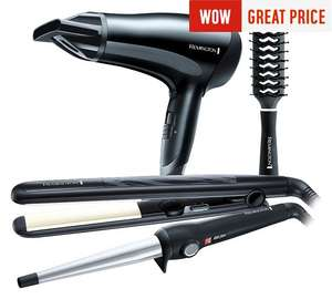 Remington hairdryer, wand, straightener and brush gift set from Argos £24.99