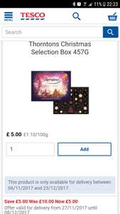 TESCO Thorntons large box chocolate Christmas selection box  limited edition Half price £5