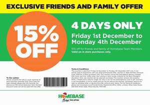 15% Off Everything Homebase Instore
