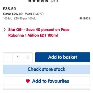 Paco Rabanne 1 million for 100ml in Boots for £38.50 to collect in store